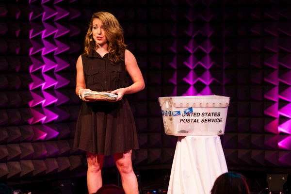 Hannah Brencher carried a USPS mail crate with her when she spoke at TED@NYC. Photo: Ryan Lash